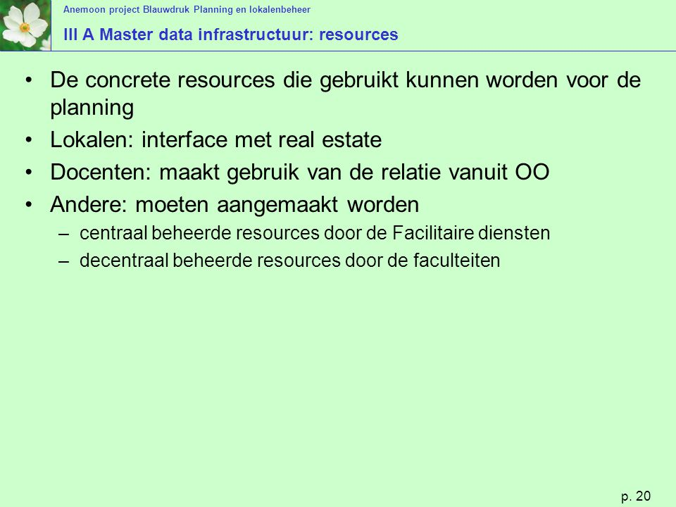 III A Master data infrastructuur: resources