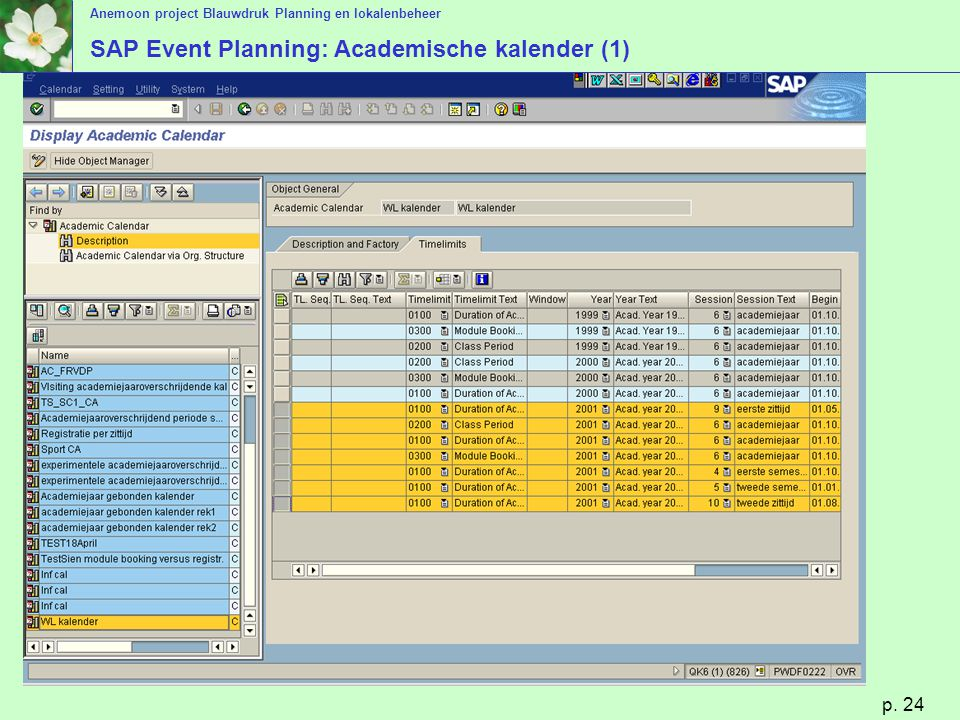 SAP Event Planning: Academische kalender (1)