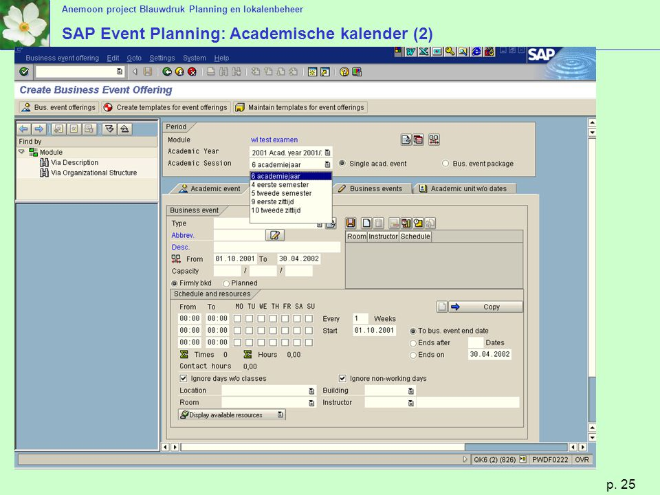 SAP Event Planning: Academische kalender (2)