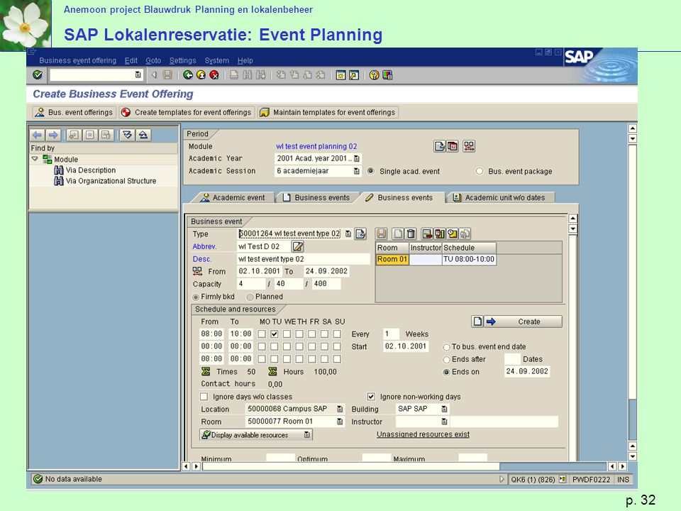 SAP Lokalenreservatie: Event Planning