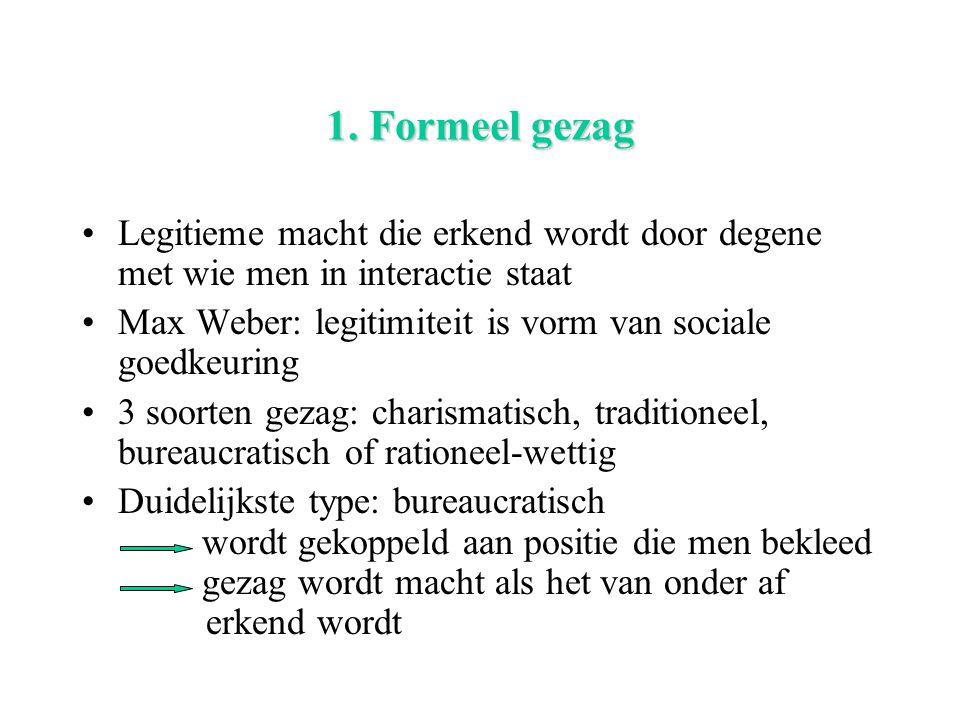 1. Formeel gezag Legitieme macht die erkend wordt door degene met wie men in interactie staat.