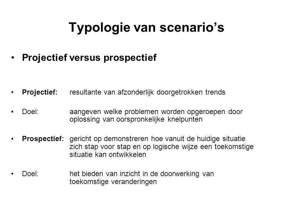 Typologie van scenario's