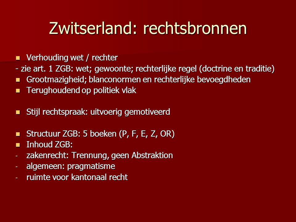 Zwitserland: rechtsbronnen