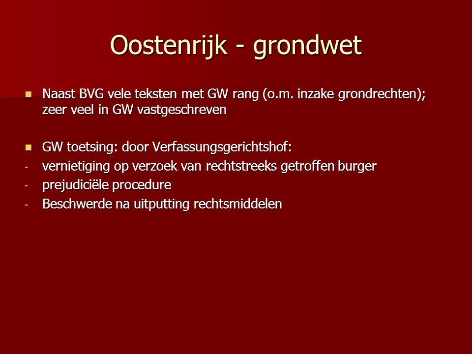 Oostenrijk - grondwet Naast BVG vele teksten met GW rang (o.m. inzake grondrechten); zeer veel in GW vastgeschreven.