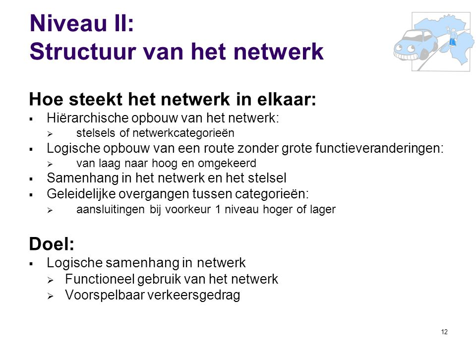 Niveau II: Structuur van het netwerk