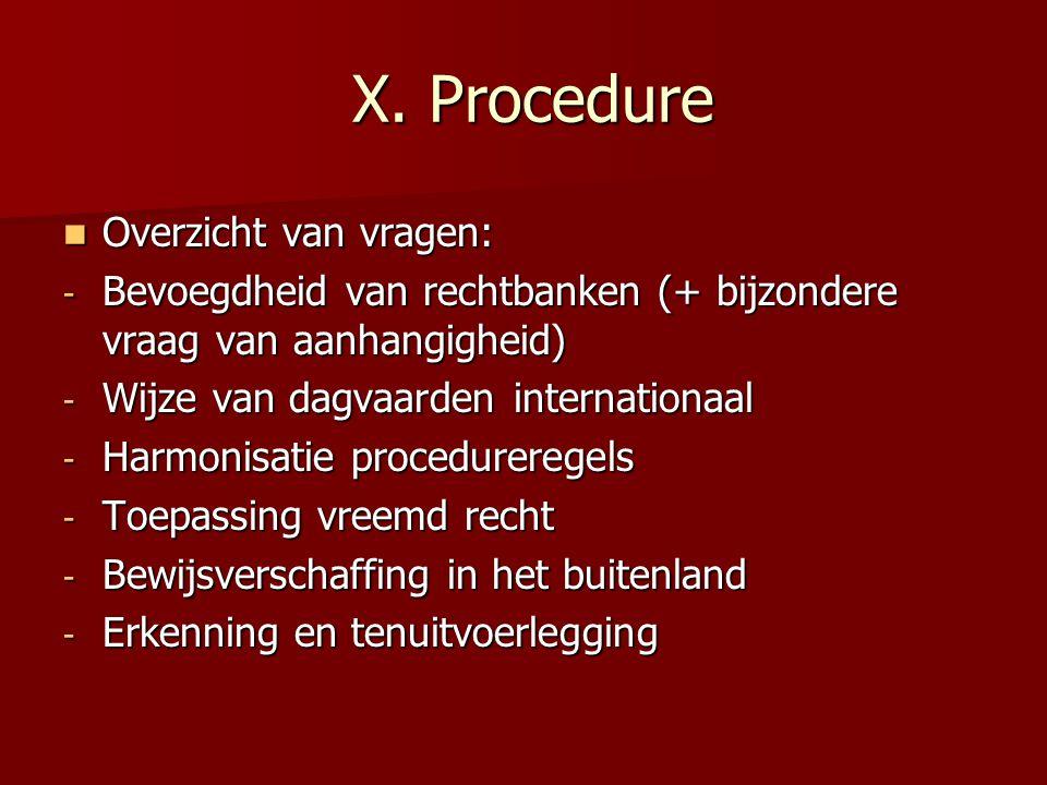 X. Procedure Overzicht van vragen: