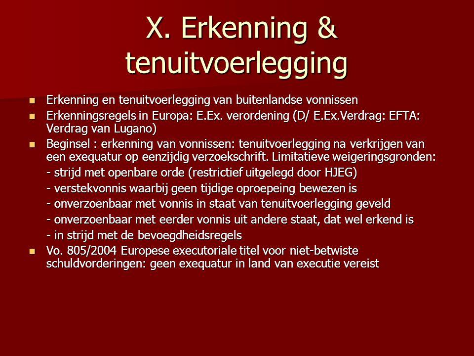 X. Erkenning & tenuitvoerlegging