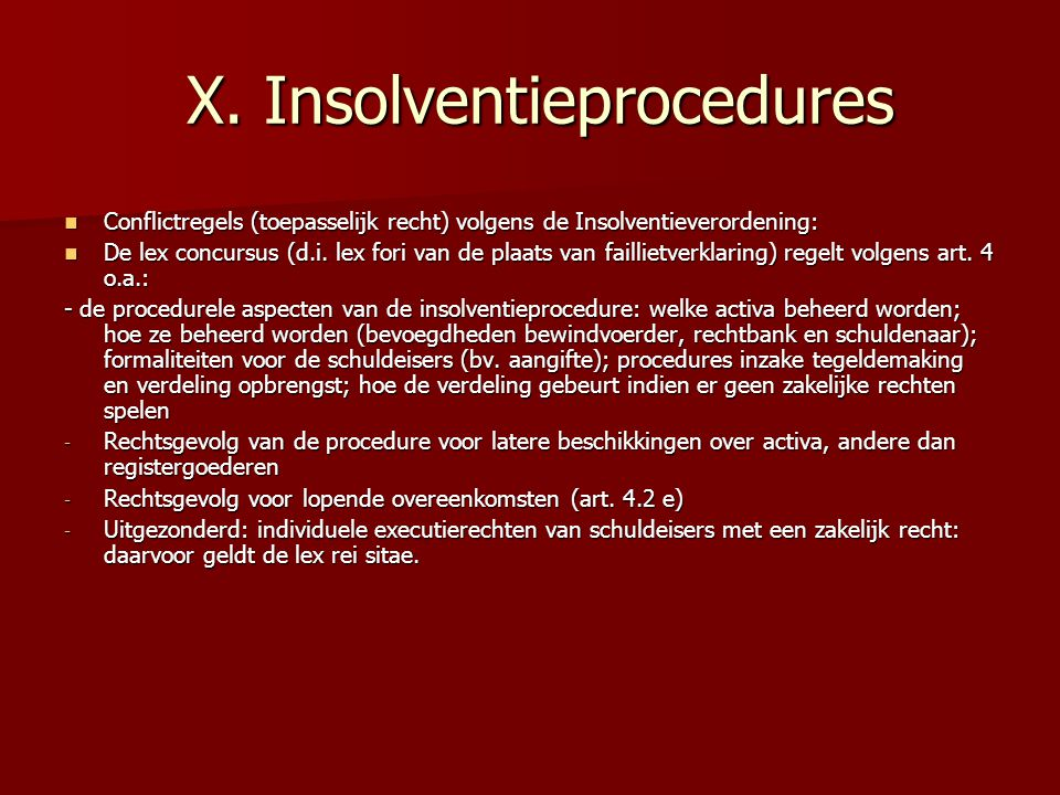 X. Insolventieprocedures