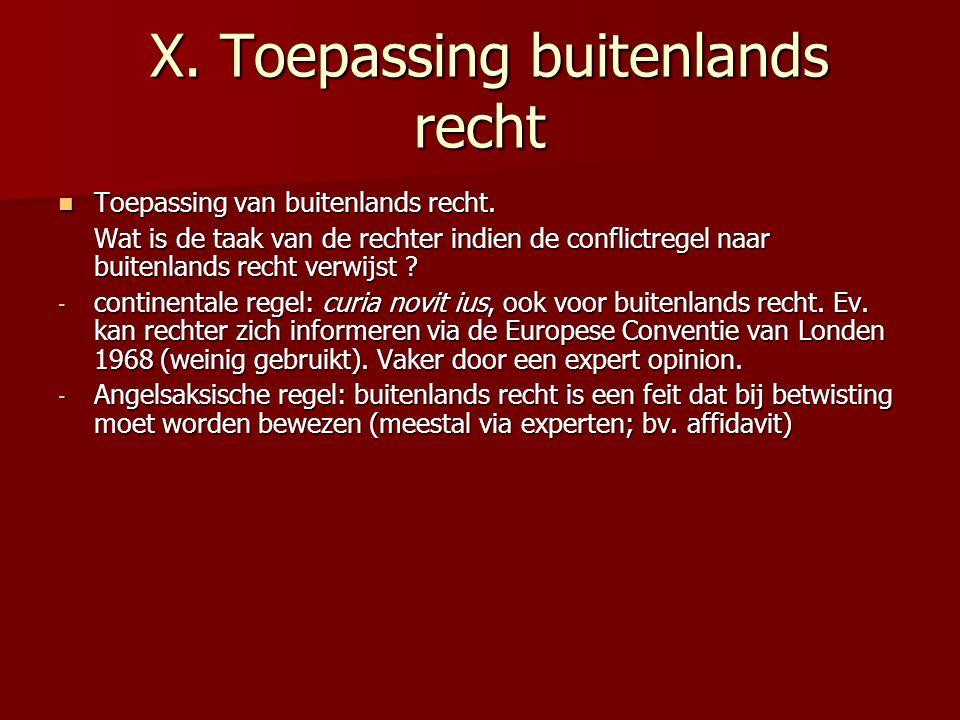 X. Toepassing buitenlands recht