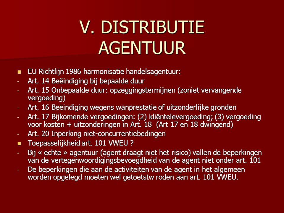 V. DISTRIBUTIE AGENTUUR