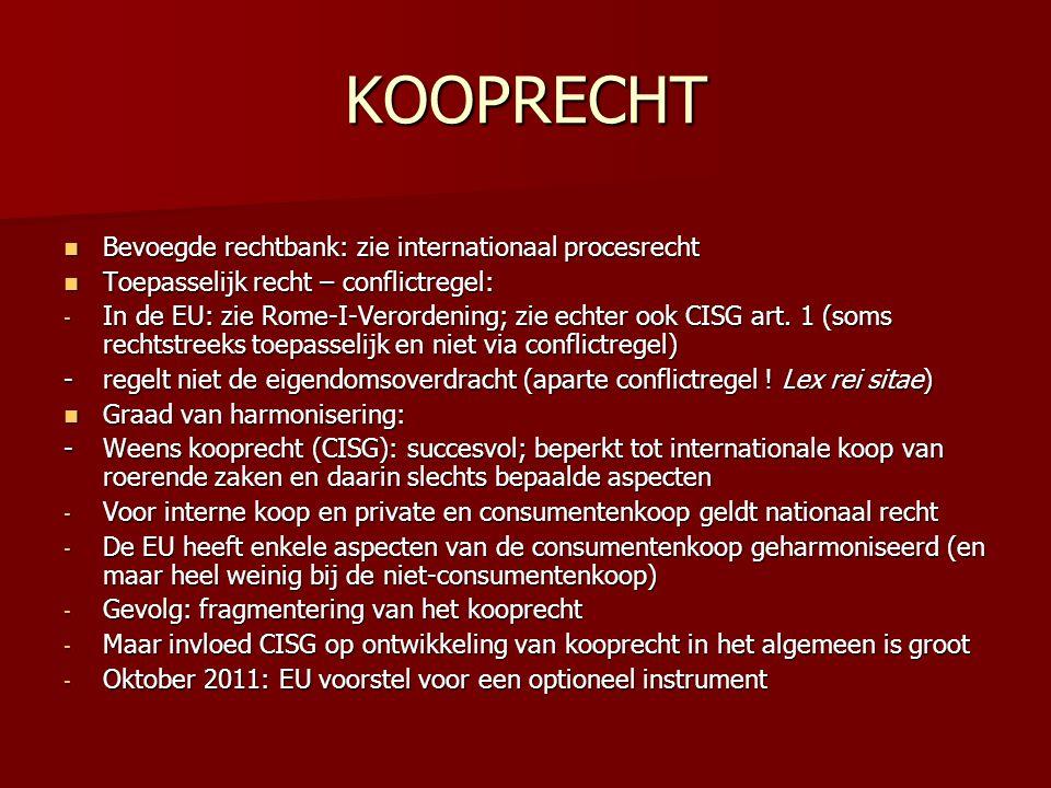 KOOPRECHT Bevoegde rechtbank: zie internationaal procesrecht
