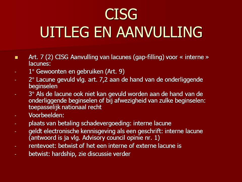 CISG UITLEG EN AANVULLING