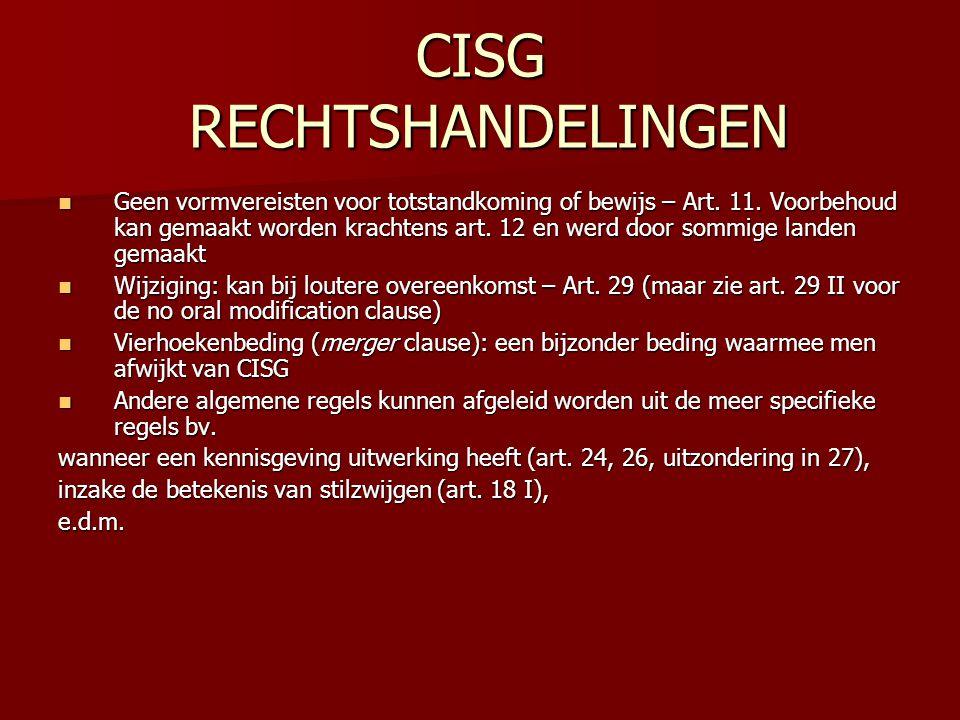 CISG RECHTSHANDELINGEN