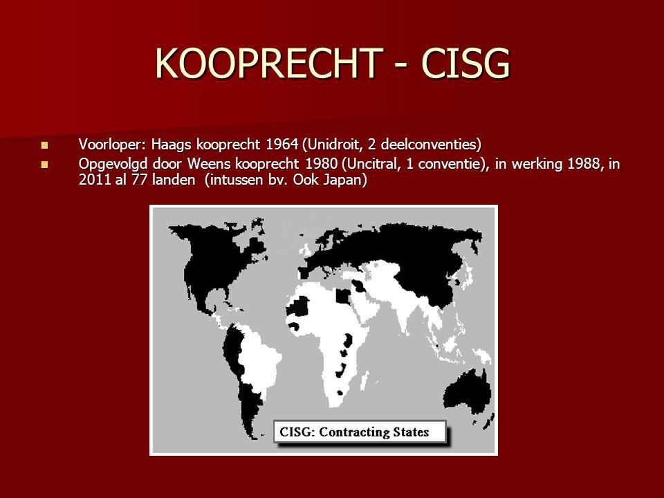 KOOPRECHT - CISG Voorloper: Haags kooprecht 1964 (Unidroit, 2 deelconventies)