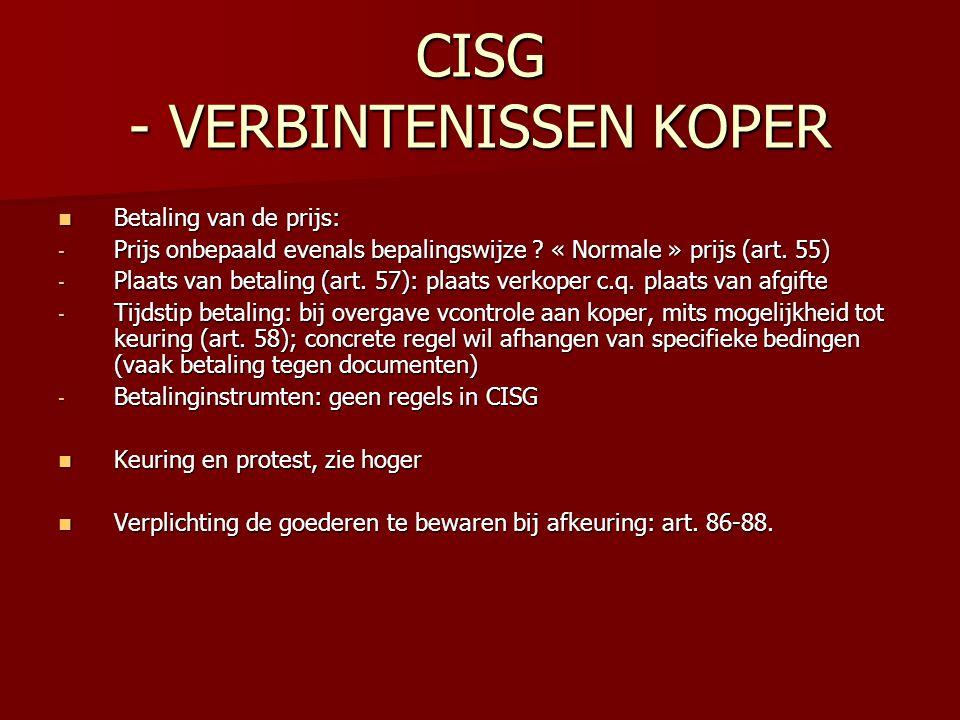 CISG - VERBINTENISSEN KOPER