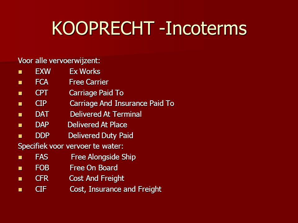 KOOPRECHT -Incoterms Voor alle vervoerwijzent: EXW Ex Works