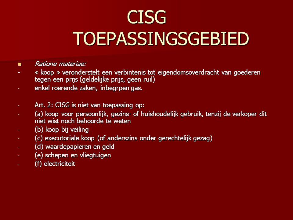 CISG TOEPASSINGSGEBIED