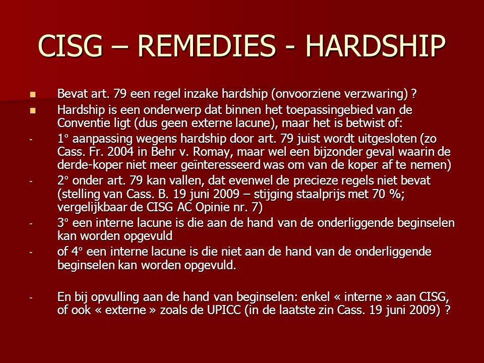 CISG – REMEDIES - HARDSHIP