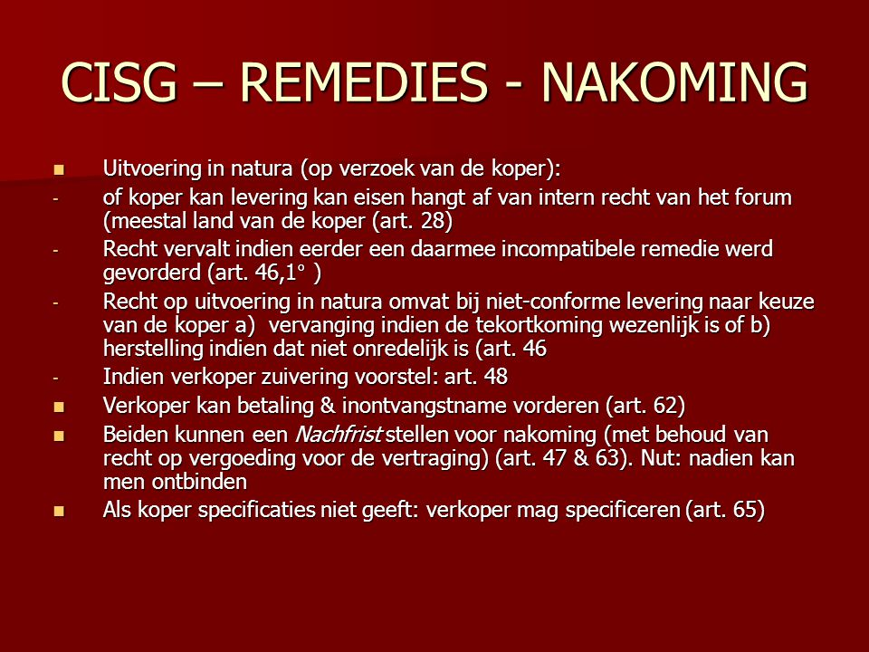 CISG – REMEDIES - NAKOMING