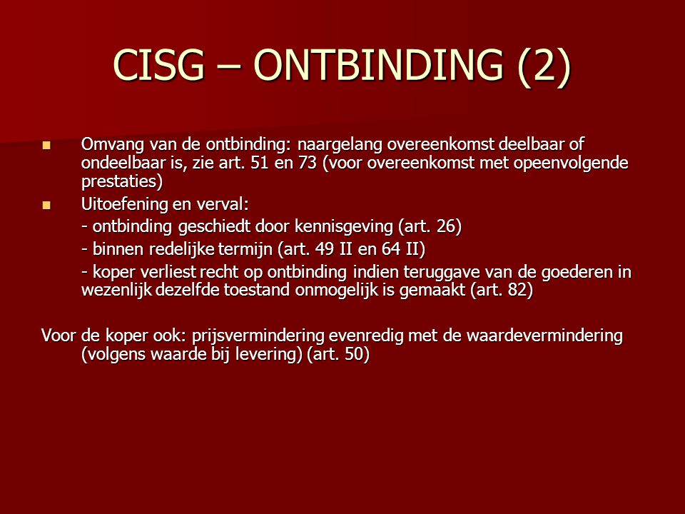 CISG – ONTBINDING (2)
