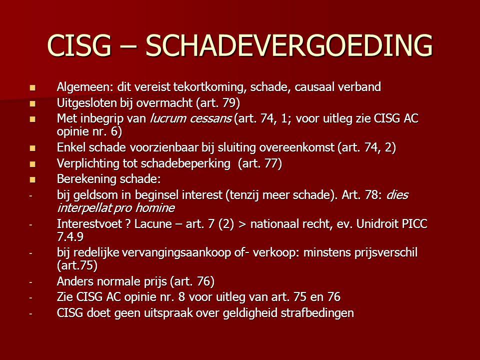 CISG – SCHADEVERGOEDING