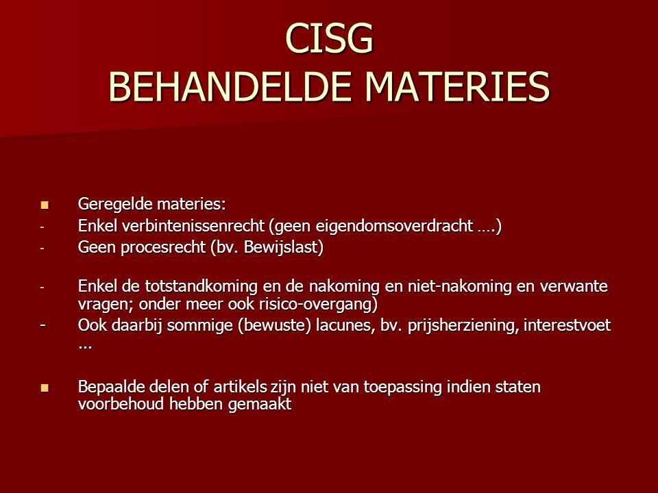 CISG BEHANDELDE MATERIES
