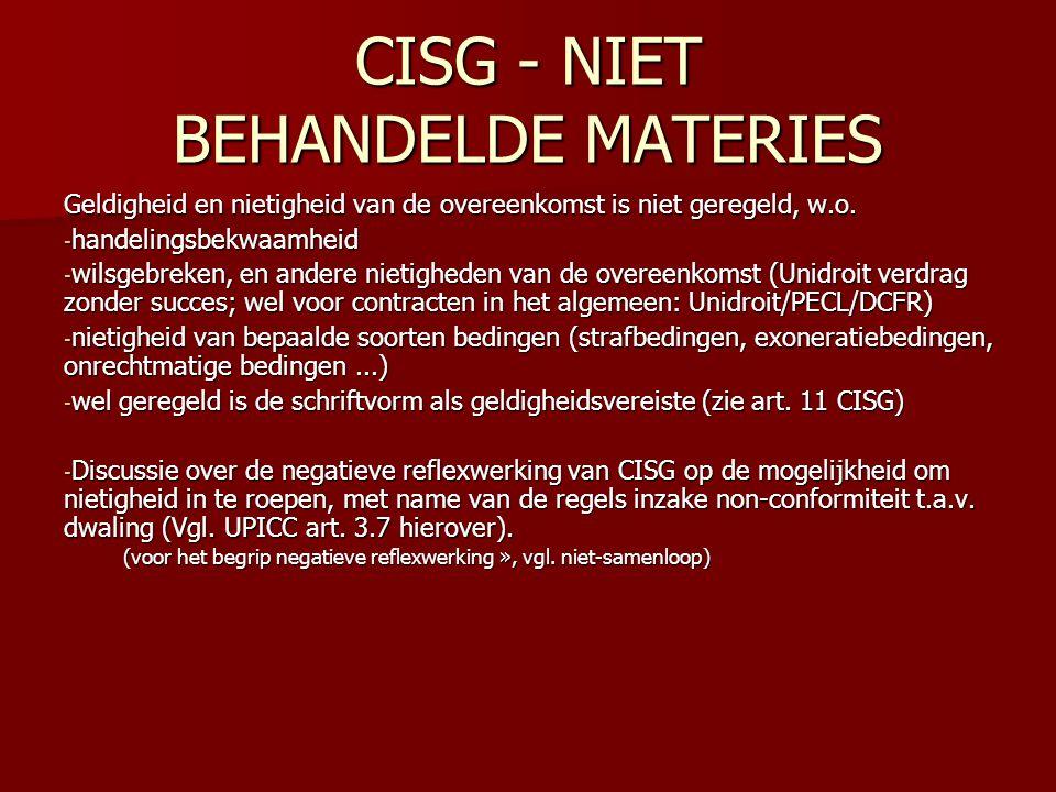 CISG - NIET BEHANDELDE MATERIES