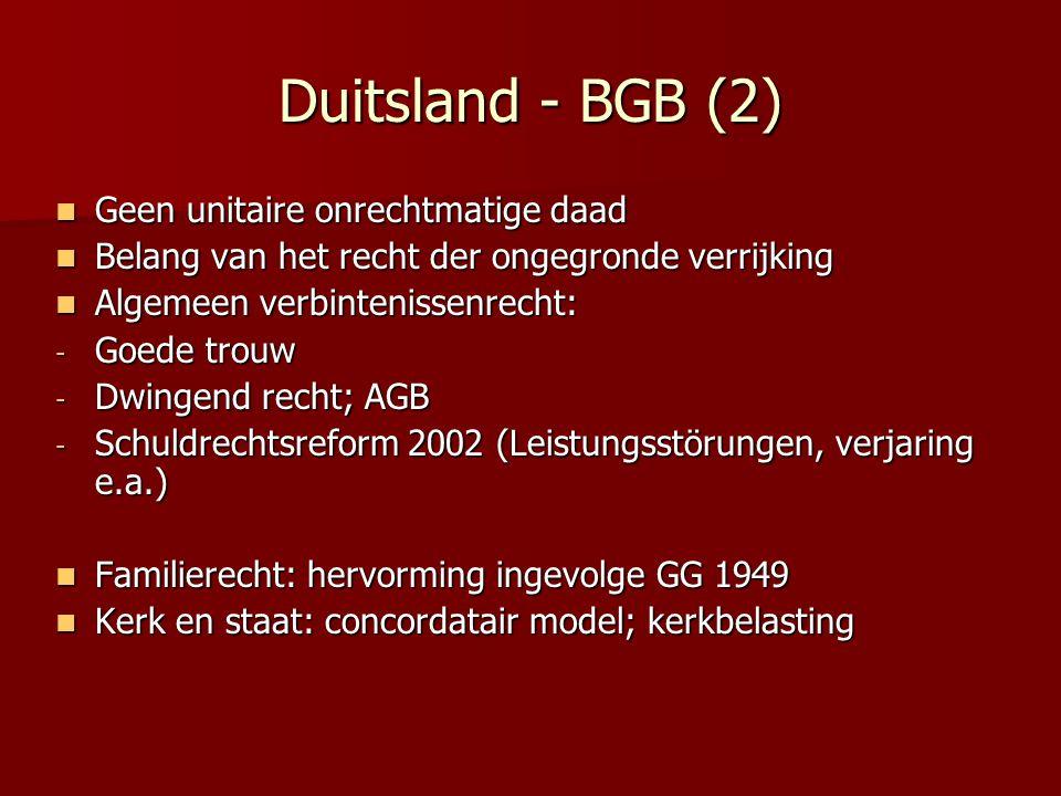Duitsland - BGB (2) Geen unitaire onrechtmatige daad