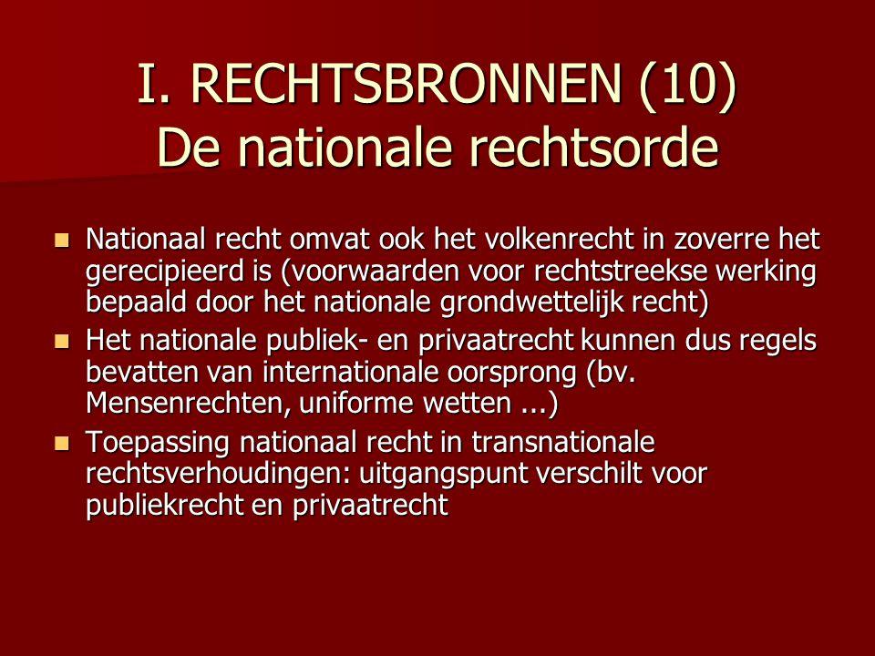 I. RECHTSBRONNEN (10) De nationale rechtsorde