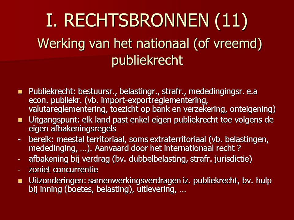 I. RECHTSBRONNEN (11) Werking van het nationaal (of vreemd) publiekrecht