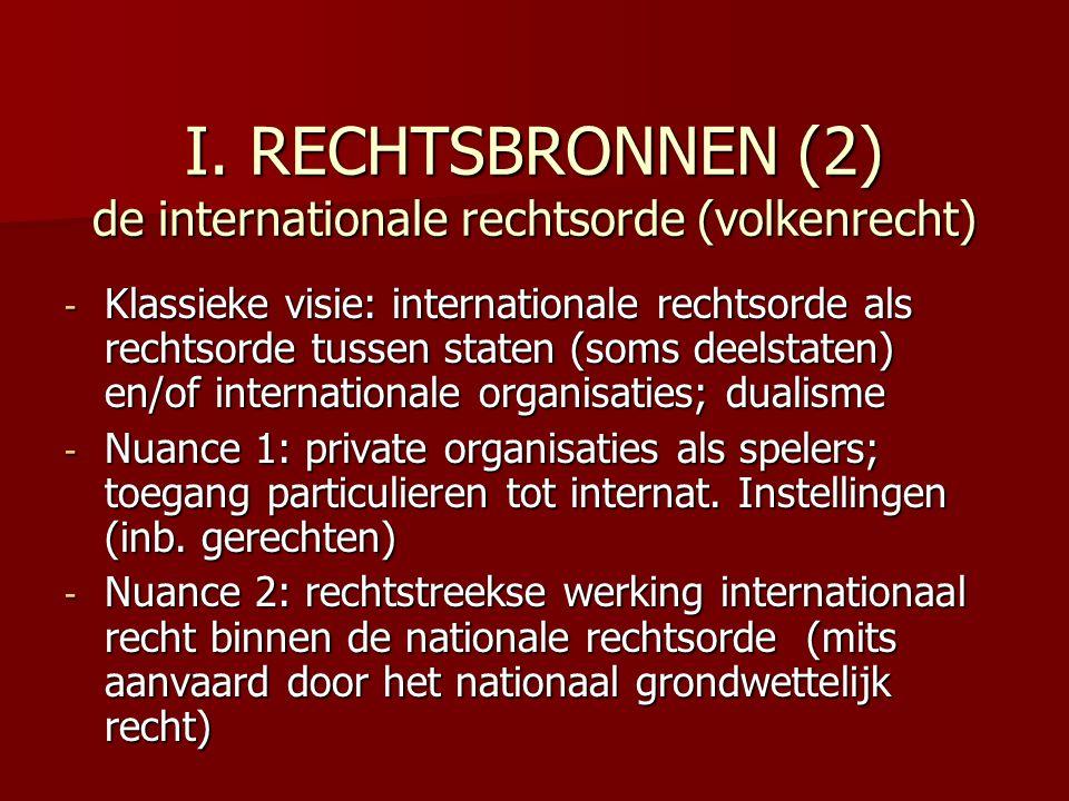 I. RECHTSBRONNEN (2) de internationale rechtsorde (volkenrecht)