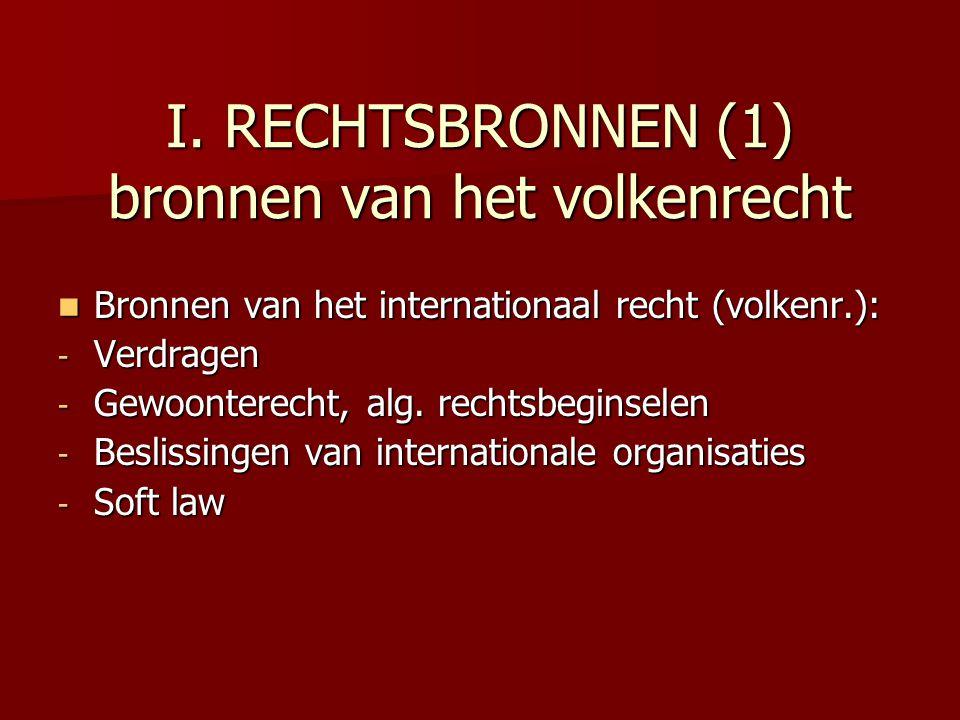I. RECHTSBRONNEN (1) bronnen van het volkenrecht