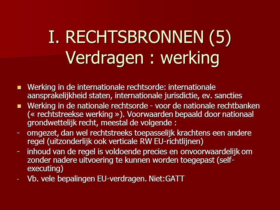 I. RECHTSBRONNEN (5) Verdragen : werking