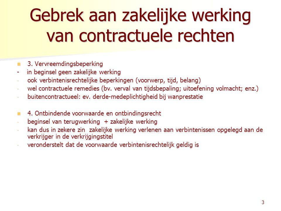 Gebrek aan zakelijke werking van contractuele rechten