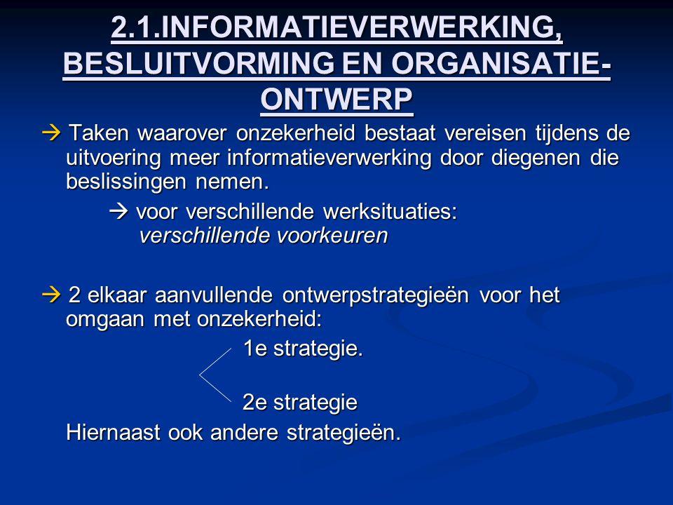 2.1.INFORMATIEVERWERKING, BESLUITVORMING EN ORGANISATIE-ONTWERP