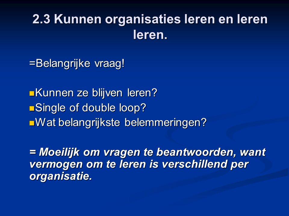 2.3 Kunnen organisaties leren en leren leren.