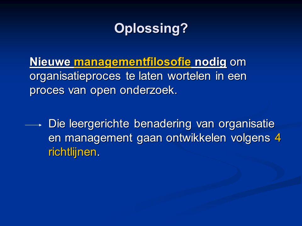 Oplossing Nieuwe managementfilosofie nodig om organisatieproces te laten wortelen in een proces van open onderzoek.