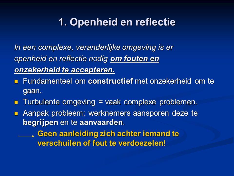 1. Openheid en reflectie In een complexe, veranderlijke omgeving is er