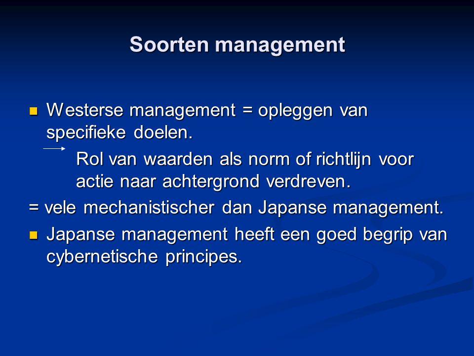 Soorten management Westerse management = opleggen van specifieke doelen.