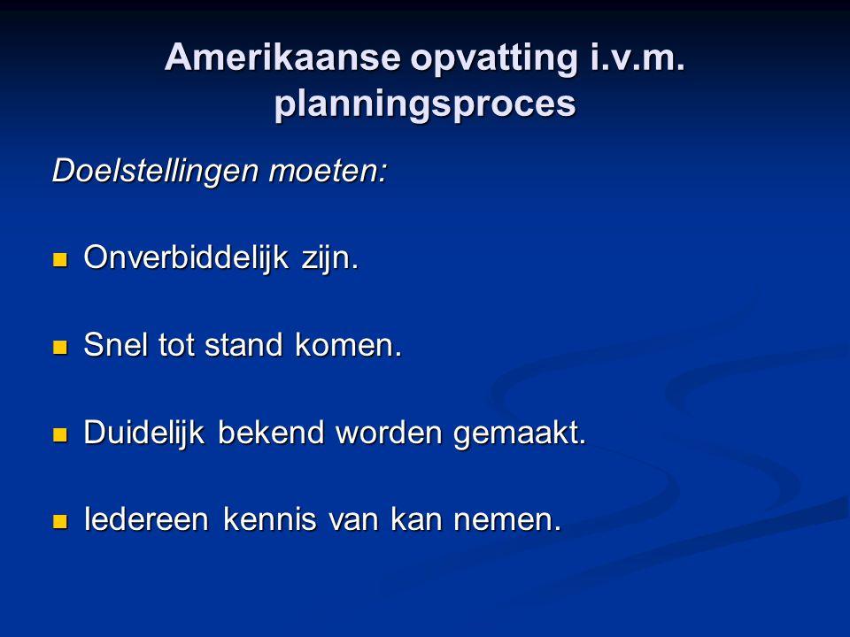 Amerikaanse opvatting i.v.m. planningsproces