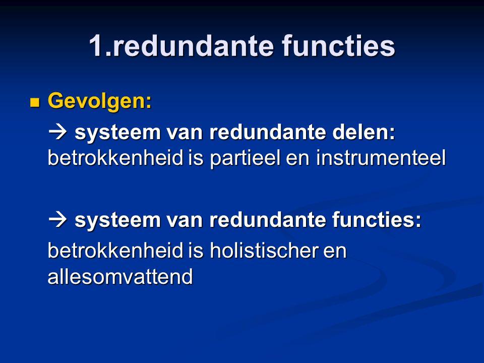 1.redundante functies Gevolgen: