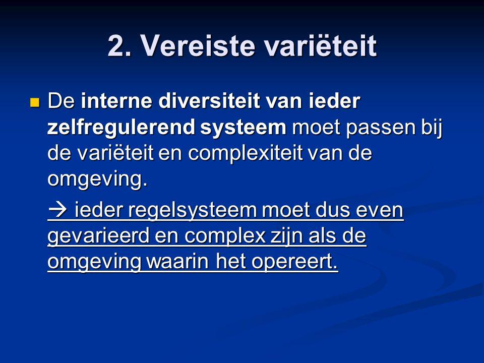 2. Vereiste variëteit De interne diversiteit van ieder zelfregulerend systeem moet passen bij de variëteit en complexiteit van de omgeving.