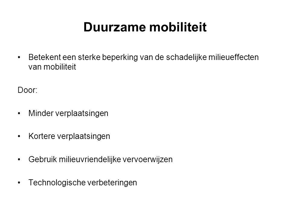 Duurzame mobiliteit Betekent een sterke beperking van de schadelijke milieueffecten van mobiliteit.