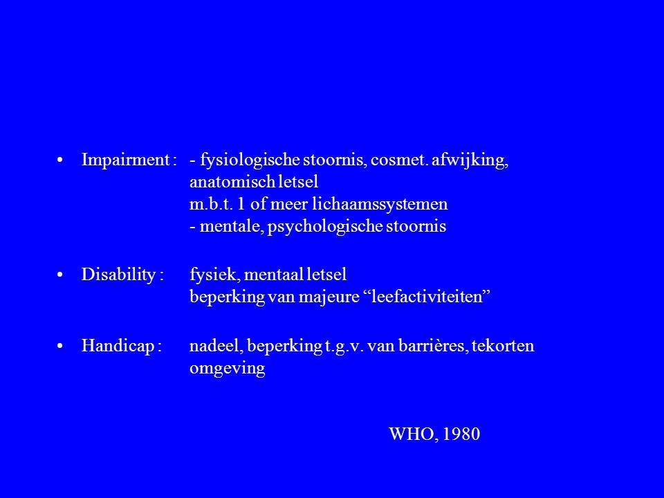 Impairment :. - fysiologische stoornis, cosmet. afwijking,