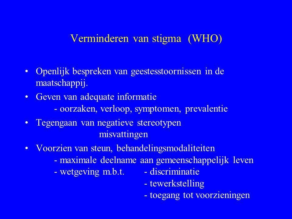 Verminderen van stigma (WHO)