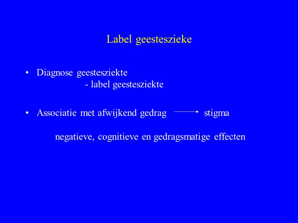 Label geesteszieke Diagnose geestesziekte - label geestesziekte