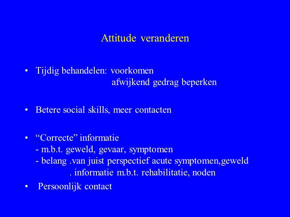 Attitude veranderen Tijdig behandelen: voorkomen afwijkend gedrag beperken. Betere social skills, meer contacten.