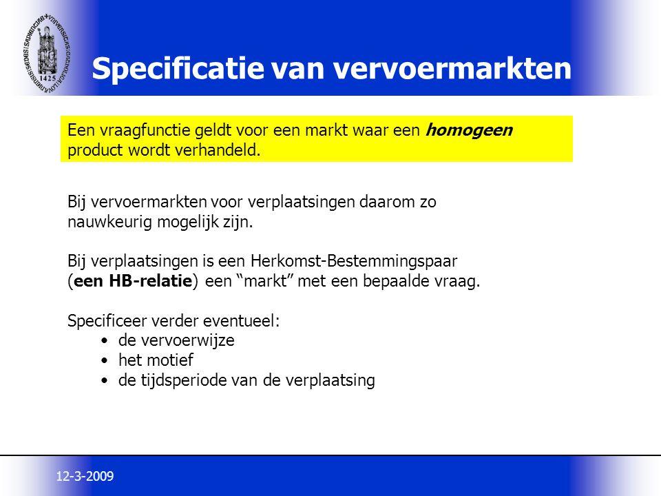 Specificatie van vervoermarkten