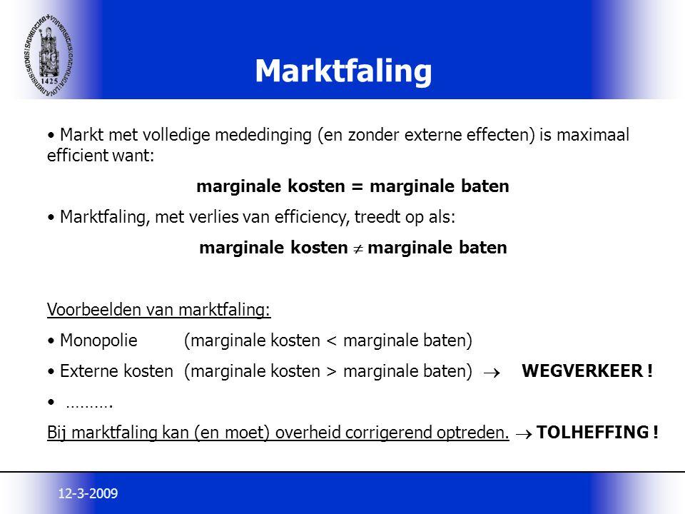 marginale kosten = marginale baten marginale kosten  marginale baten