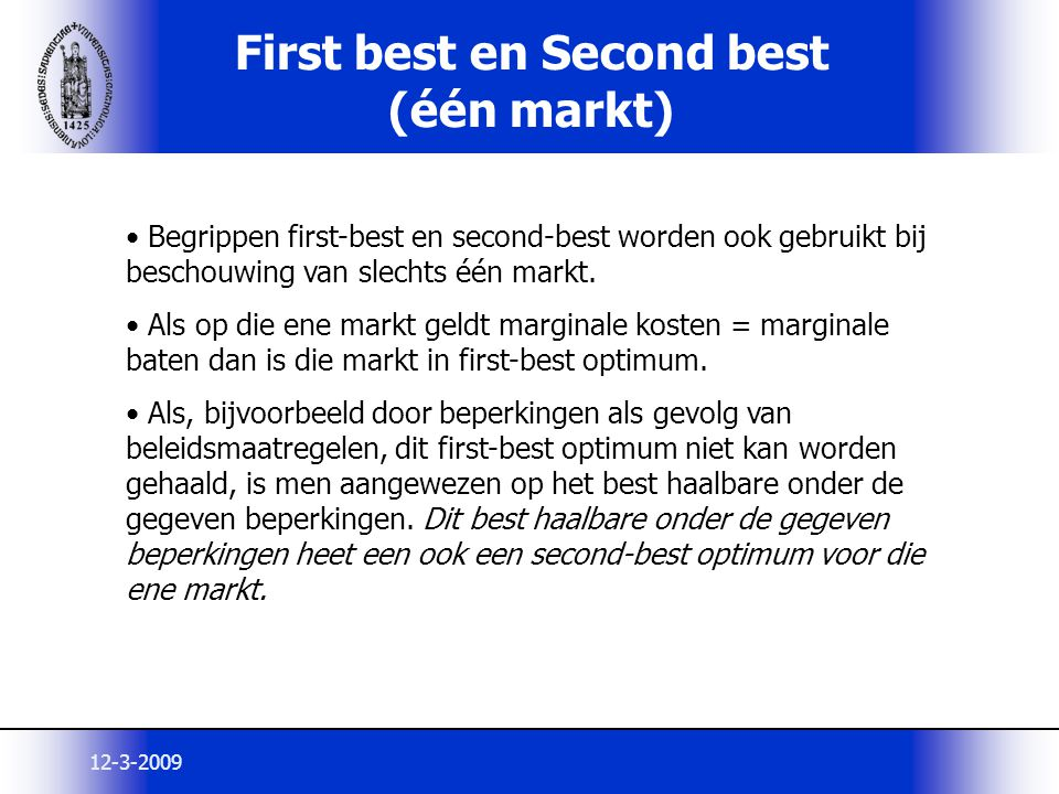 First best en Second best (één markt)